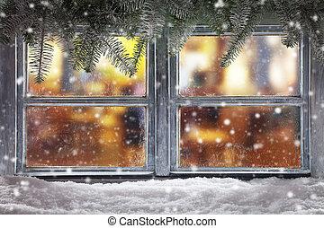 decoración, solera, navidad, atmosférico, ventana