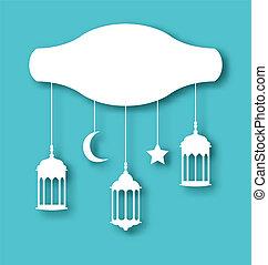 decoración, tarjeta, saludo, mubarak, eid