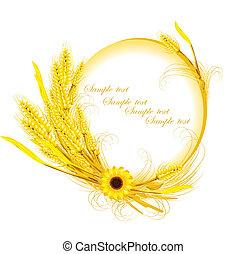 decoración, trigo, girasol