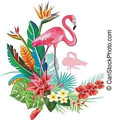 decoración, tropical, trop, flamencos