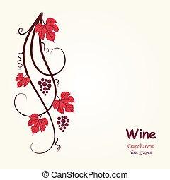 decoración, uva, vine.