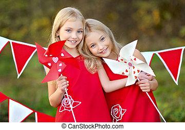 decoración, valentino, estilo, dos, hermanas, retrato, día