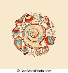 decoración, vector, redondo, conchas