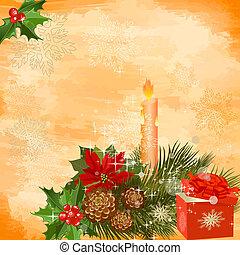 decoración, vela, navidad