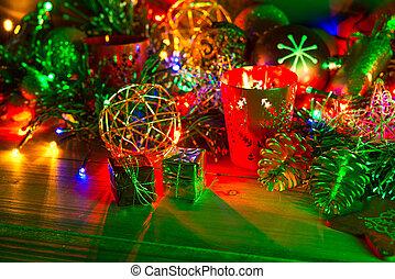 decoración, velas, navidad