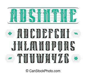 decoración, vendimia, serif, fuente