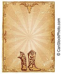decoración, viejo, vaquero, texto, marco, papel, plano de ...