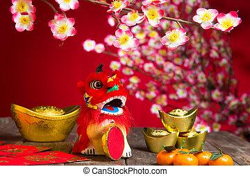 decoraciones, carácter, nuevo, simboliza, gong, chino, año