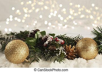 decoraciones de navidad, anidado, en, nieve