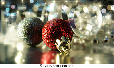 decoraciones de navidad, en, estrellado, plano de fondo