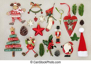 decoraciones de navidad, y, invierno, flora