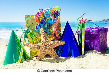 decoraciones, estrellas de mar, cumpleaños, playa