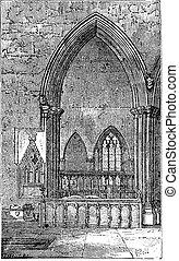 Decoracted gothic Arch in Dorchester Abbey in Dorchester-on-Thames, Oxfordshire, England. Old engraving