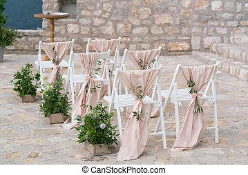 decorado, cadeiras, em, a, casório, jurisdição