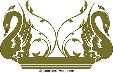 decorado, cisnes