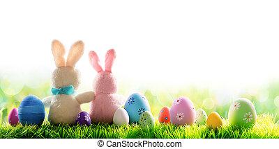 decorado, coelhinhos, dois, ovos