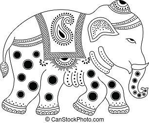 decorado, elefante índio
