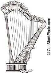 decorado, harpa