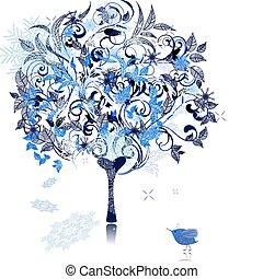 decorado, inverno árvore, neve