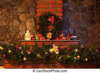 decorado, lareira, natal