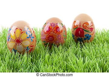 decorado, ovos galinha, em, capim