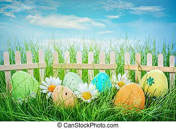 decorado, ovos páscoa