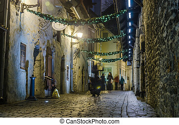 decorado, rua, tallinn, natal