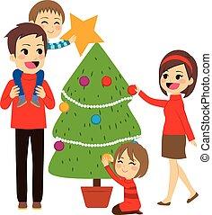 decorando, árvore, natal, família