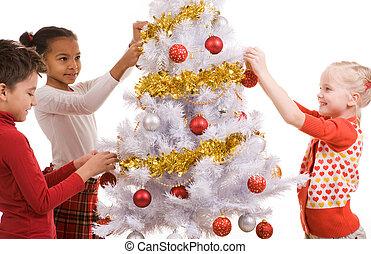 decorando, árvore, natal