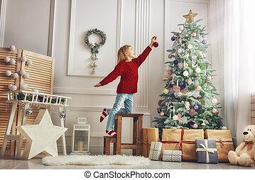 decorando, árvore, natal, menina