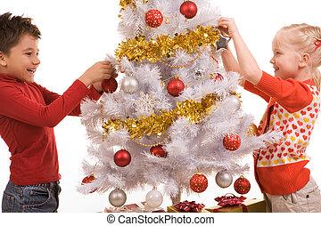 decorando, ano novo, árvore