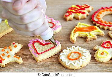 decorando, biscoitos