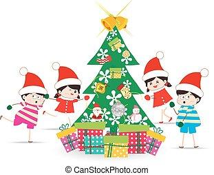 decorando, crianças, natal, feliz