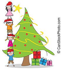 decorando, tre, crianças, natal