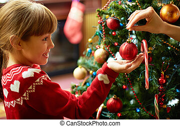 decorar, árbol abeto
