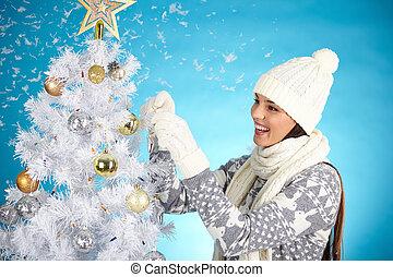 decorar, árbol de navidad