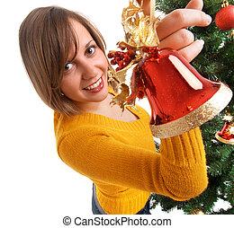 decorar, árbol, navidad