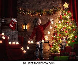 decorar, árbol, navidad, niña