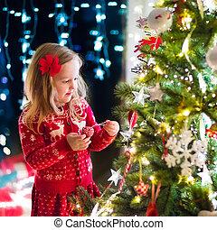 decorar, árbol, navidad, niño