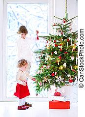 decorar, árbol, niños, navidad