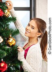 decorar, mujer, árbol, navidad