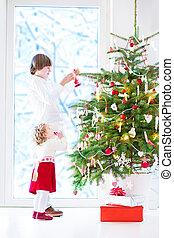 decorar, niños, árbol, navidad