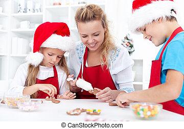 decorare, biscotti, natale famiglia