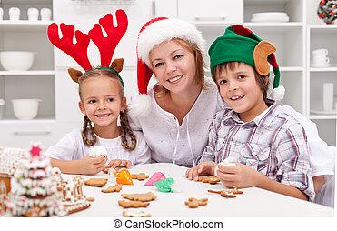decorare, felice, biscotti, natale famiglia