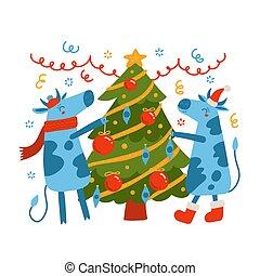 decorare, illustration., simbolo, luminoso, 2021., santa, albero., bandiera, natale, toro, cappello, card., vettore, illustrazione, mucca, fresco, appartamento, augurio