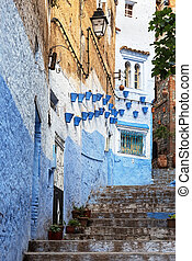 Decorated architecture. - Stairway in the picturesque medina...