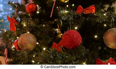 decorated artificial christmas tree at home - holidays, new ...