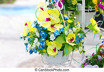 Decorated artificial flowers.