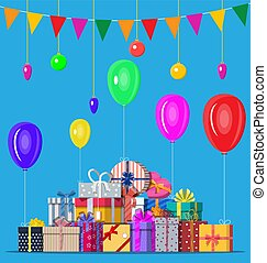Decorated background with gift boxes