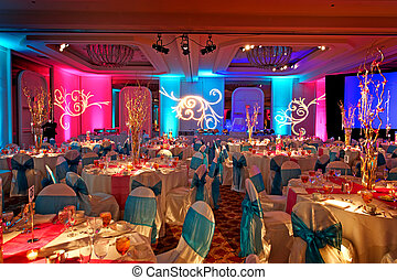 Image of a beautifully decorated ballroom for an Indian wedding reception